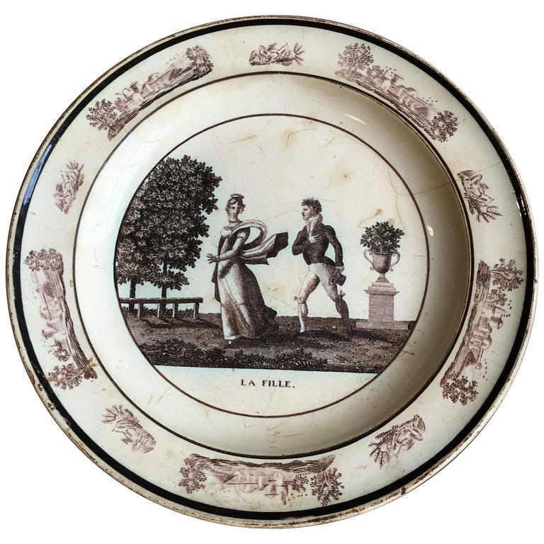 """French Empire Creil Plate """"La Fille"""""""