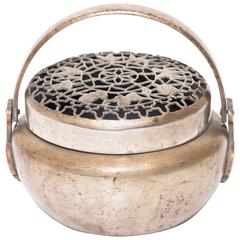 Chinese Brass Brazier with Incised Lid