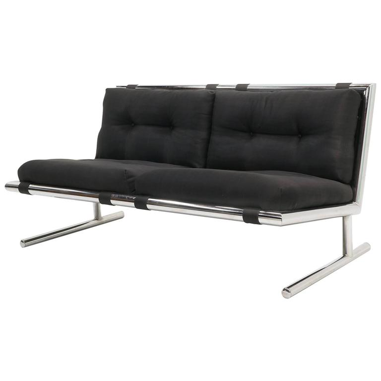 Bon Arthur Umanoff Settee / Loveseat For Directional, Tubular Chrome, New  Upholstery For Sale