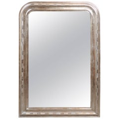 French Louis-Philippe Silver Leaf Mirror with Checkerboard Motifs, circa 1900