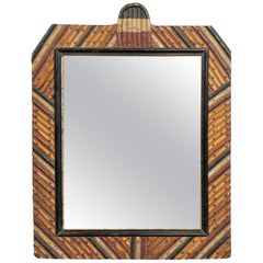 English Tramp Art Mirror with Diagonally Arranged Wooden Frame, circa 1900