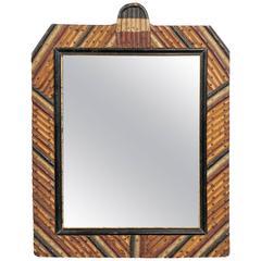 English Tramp Art Mirror with Diagonally Arranged Wooden Frame, circa 1900