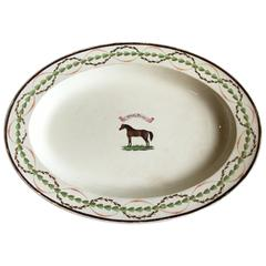 "18th Century English Equestrian Platter, Race Horse ""High Flyer"""