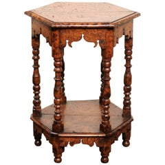 English Burl Wood Hexagonal Side Table with Turned Legs and Richly Carved Apron