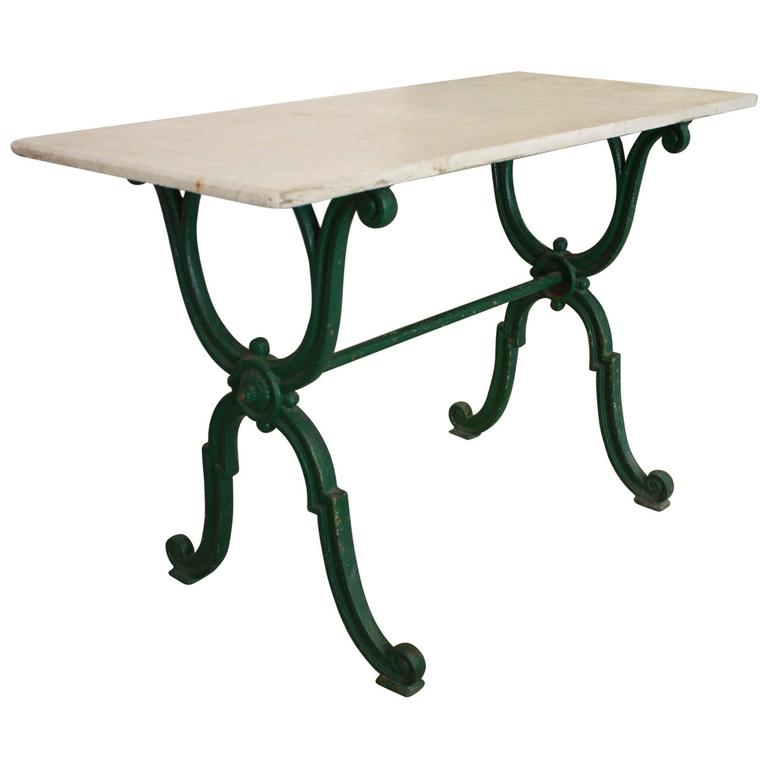 French Bistro Table With Marble Top For