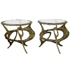 James Bearden Tangled Brass Side Tables, Pair