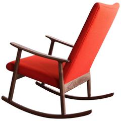 RC01 Upholstered Rocking Chair in Black Walnut, by Jason Lewis Furniture
