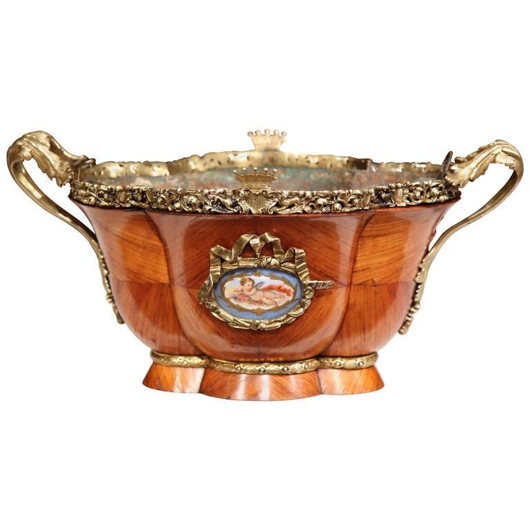 19th Century French Bombe Tulipwood and Bronze Jardinière with Porcelain Plaques For Sale