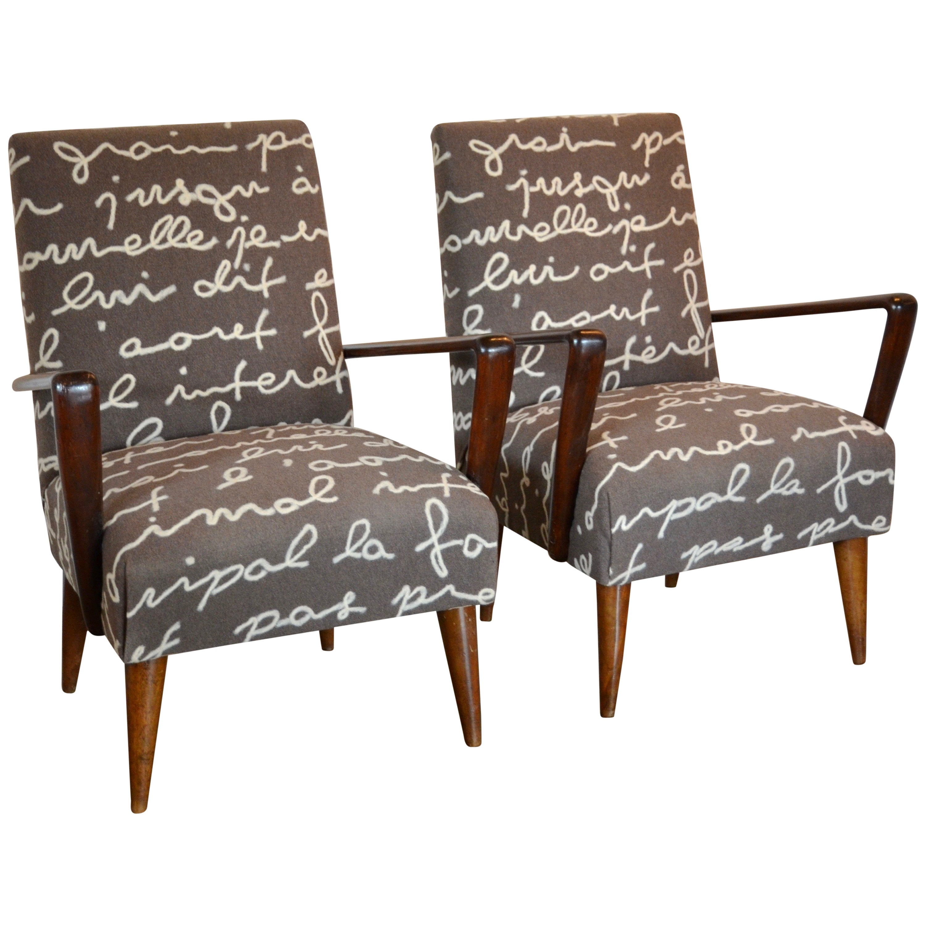 Mid-Century Modern Armchairs with Custom Upholstery, Pair