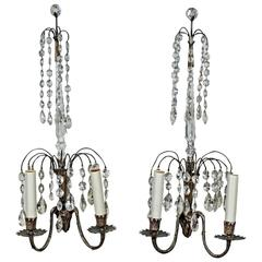 Two Pairs of Swedish Crystal Wall Sconces