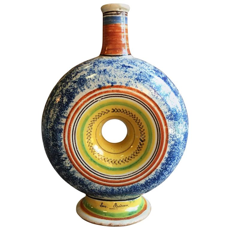 19th Century French Faience Bottle, Dated 1838
