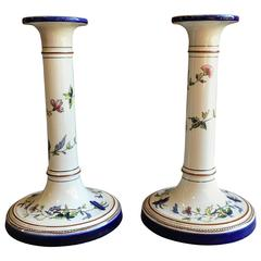 Pair of Porcelain Candlesticks, Rouen France
