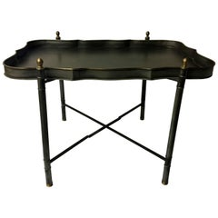 Classical Italian Scalloped Table with Collapsible Base and Removable Tray