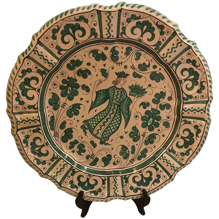 Italian Paint Decorated Platter For Sale