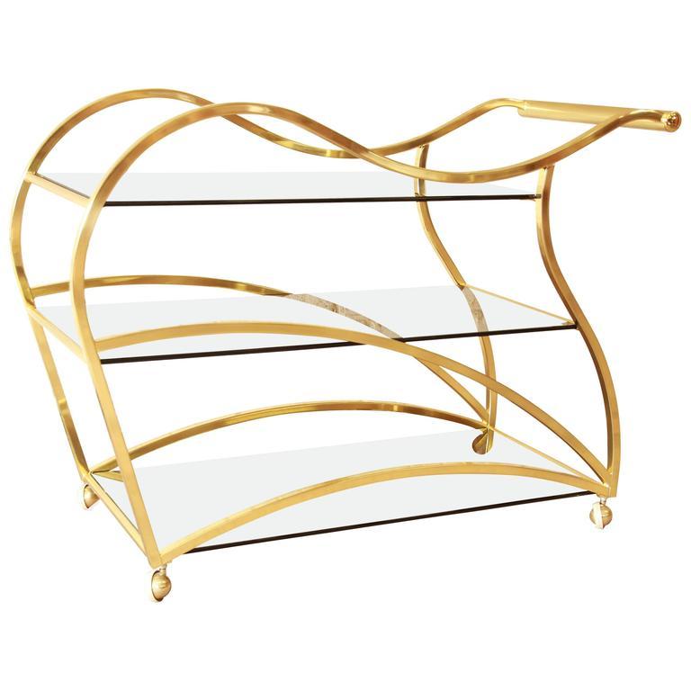 Milo Baughman Style Modern Brass and Glass Bar or Tea Cart by Dia