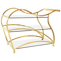 Milo Baughman Style Modern Brass and Glass Bar or Tea Cart by Dia