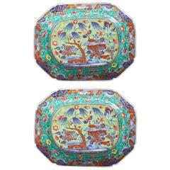 Pair of 18th Century Chinese Export Clobbered Platters