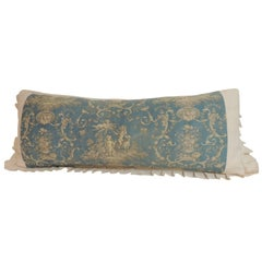 Large Antique French Toile Blue Decorative Bolster Pillow w. Grain Sack Trim