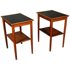 Pair of Scandinavian Teak and Black Formica End Tables, 1970s