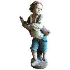 Mid 19th Century Life Size Garden Statue Of A Boy French