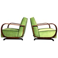 Pair of Art Deco Lounge Chairs in Walnut and Velvet, Late 1930s