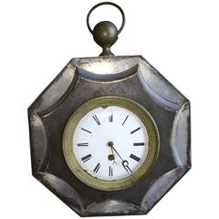 French Empire Tole Wall Clock, 19th Century