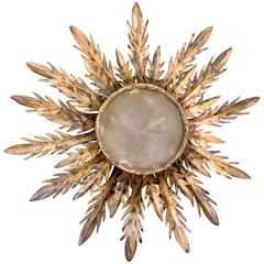 Early 20th Century Spanish Barcelona Gilt Tole Sunburst Flush Mount Fixture