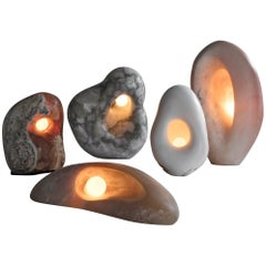 Artist Rogan Gregory Illuminated Hand Carved Fertility Form Sculptural Lamps