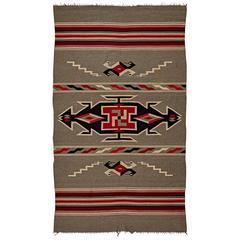 Banded Chimayo Navajo Weaving with Whirling Log Motif, circa 1920
