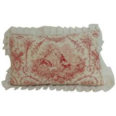 Antique French Provincial Toile Decorative Bolster Pillow with Ruffles