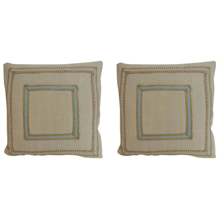 Pair of Vintage Linen Square Decorative Pillows with Vintage Jute Trims at 1stdibs