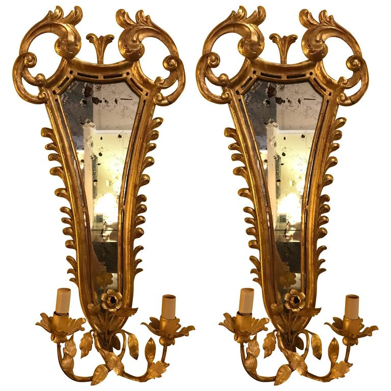 Pair of French, 19th Century Giltwood Mirrored Back Wall Sconces