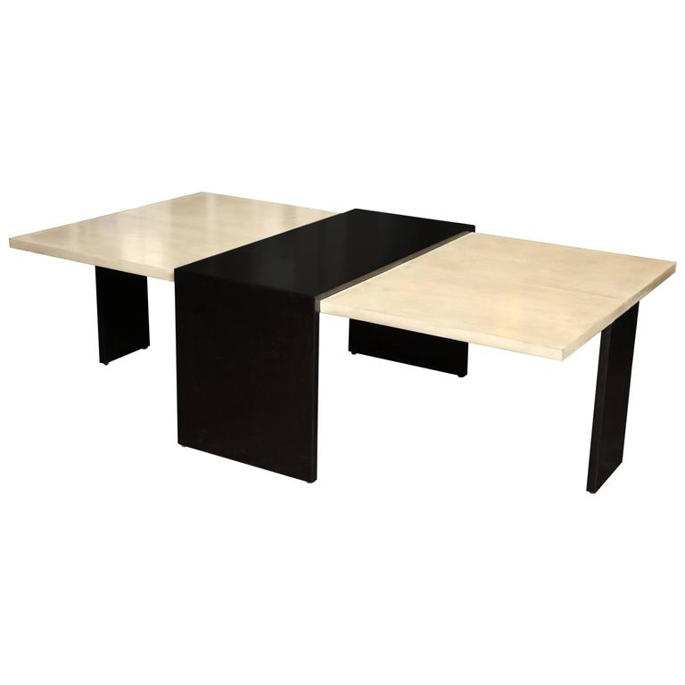 Custom goatskin two tone cocktail table for sale at 1stdibs for Cocktail tables for sale used