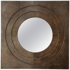 Custom Circle Mirror in a Square Parchment Frame