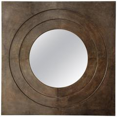 Chic Custom Circle in a Square Parchment Mirror