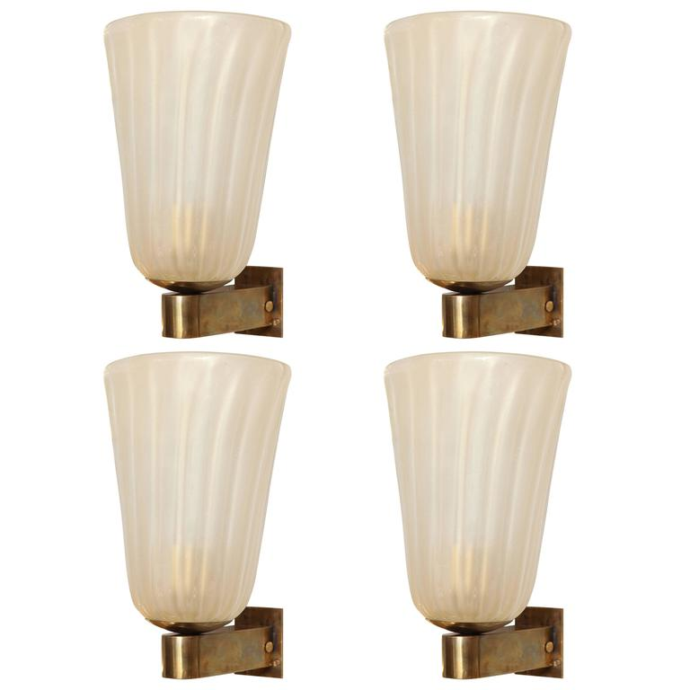 Pair of Murano Glass and Brass Wall Sconces For Sale