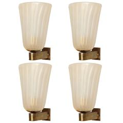 Set of Four Murano Glass and Brass Wall Sconces