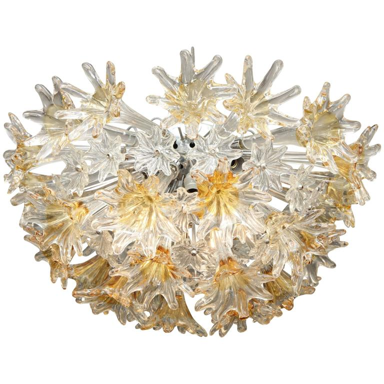 Vintage Flush Mount Venini Esprit Chandelier For Sale