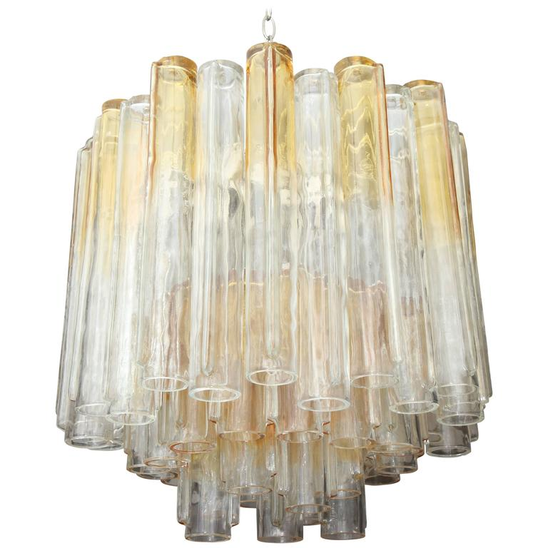 Vintage Amber and Clear Mazzega Chandelier 1