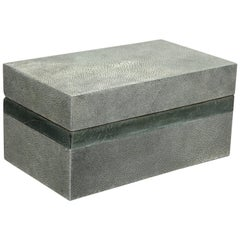 Grey Genuine Shagreen Treasure Box with Parchment Trim