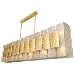 Unusual Frosted Murano Glass Rectangular Chandelier