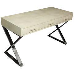 Genuine Shagreen Desk with Polished Chrome X-Band Base