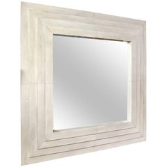 Custom Square Parchment Mirror with Four Stacked Tiers