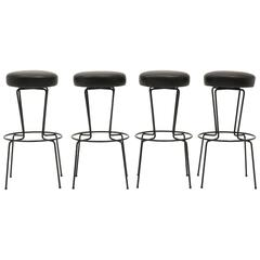Four Frederic Weinberg Bar Stools, Black Wrought Iron and Black Leather