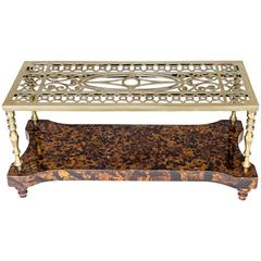Brass Trivet Coffee Table on Faux Tortoiseshell Base
