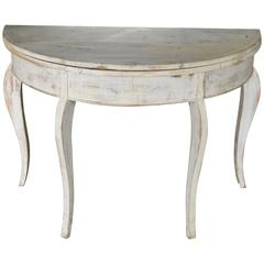 Swedish Mid-1860s Rococo Style Painted Demilune-Round Table Combo