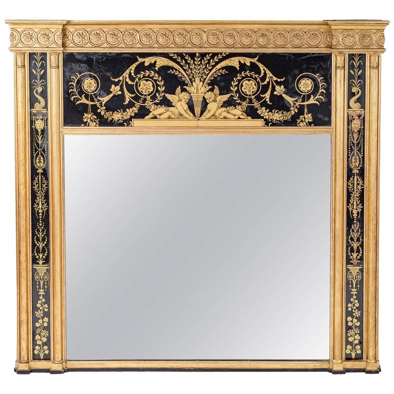 George III Giltwood Overmantel Mirror For Sale