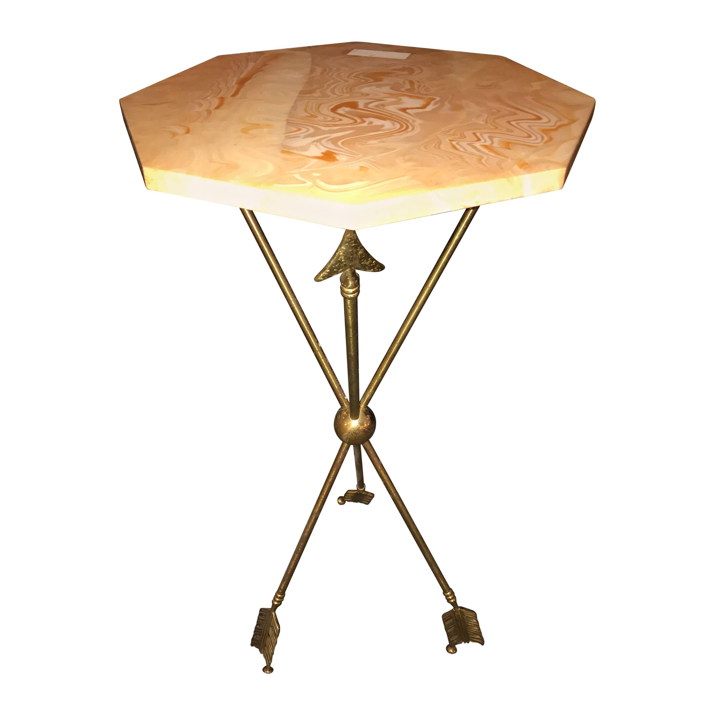 Arrow Form Bronze End Table Base or Pedestal on Tri Pod Legs