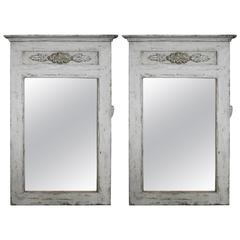 Pair of Painted Mirrors Made from Spanish Altar Elements and Old Wood