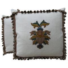 Pair of 18th Century Italian Appliqued Pillows